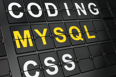 mysql: Database concept: MySQL on airport board background, 3d render