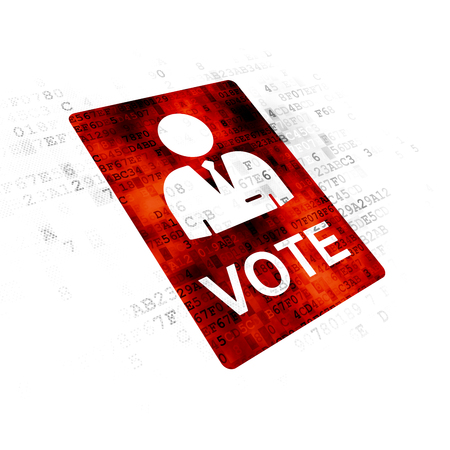 dictatorship: Political concept: Pixelated red Ballot icon on Digital background