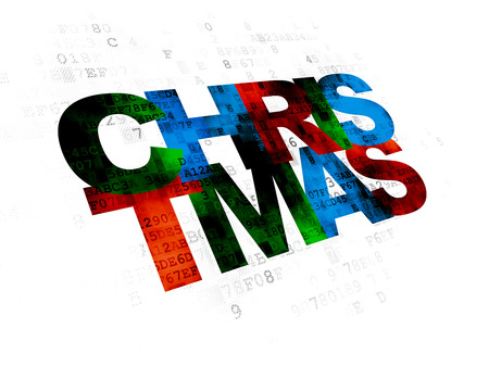 pixelated: Entertainment, concept: Pixelated multicolor text Christmas on Digital background