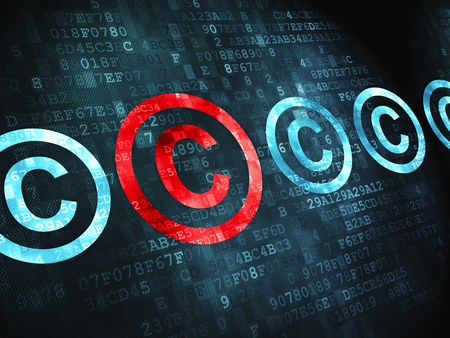 data protection act: Law concept: pixelated Copyright icon on digital background