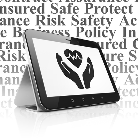 palm computer: Insurance concept: Tablet Computer with  black Heart And Palm icon on display,  Tag Cloud background