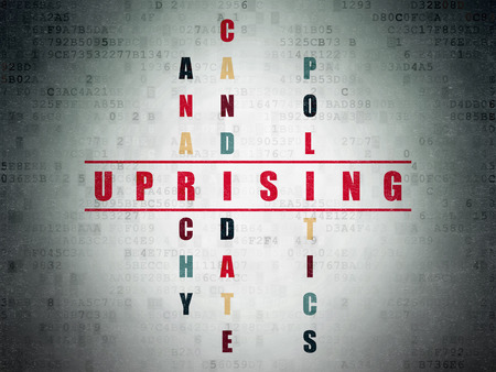 political system: Politics concept: Painted red word Uprising in solving Crossword Puzzle on Digital Paper background