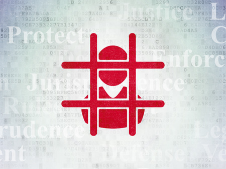 prison system: Law concept: Painted red Criminal Freed icon on Digital Paper background with  Tag Cloud