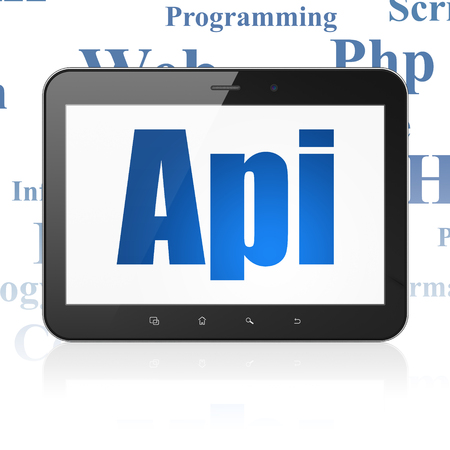 api: Programming concept: Tablet Computer with  blue text Api on display,  Tag Cloud background