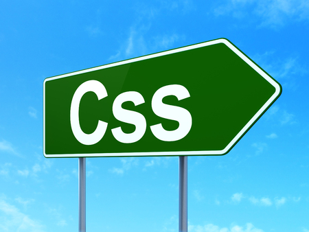 css: Software concept: Css on green road highway sign, clear blue sky background, 3d render