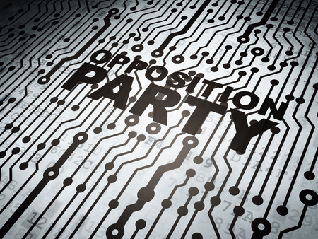 electronic voting: Political concept: circuit board with  word Opposition Party, 3d render