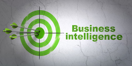 hitting a wall: Success business concept: arrows hitting the center of target, Green Business Intelligence on wall background Stock Photo