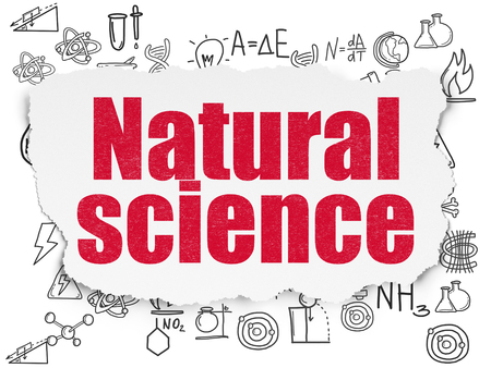 natural science: Science concept: Painted red text Natural Science on Torn Paper background with  Hand Drawn Science Icons