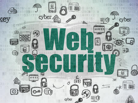 web security: Safety concept: Painted green text Web Security on Digital Paper background with Scheme Of Hand Drawn Security Icons