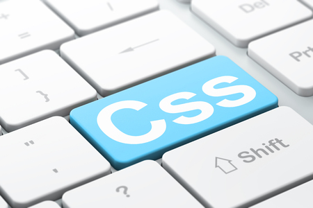 css: Software concept: computer keyboard with word Css, selected focus on enter button background, 3d render
