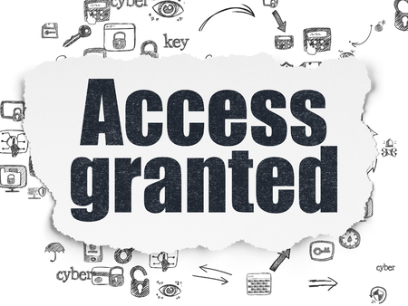 access granted: Safety concept: Painted black text Access Granted on Torn Paper background with Scheme Of Hand Drawn Security Icons