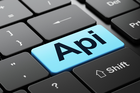 api: Programming concept: computer keyboard with word Api, selected focus on enter button background, 3d render Stock Photo
