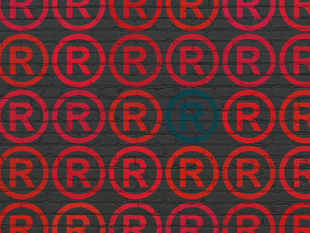 r regulation: Law concept: rows of Painted red registered icons around blue registered icon on Black Brick wall background Stock Photo