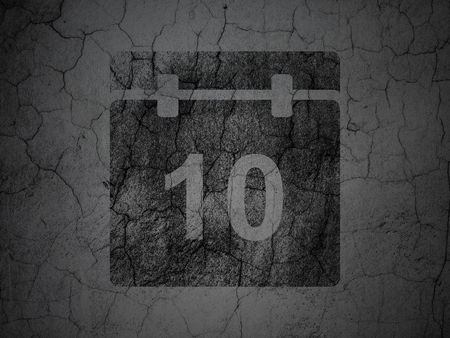black textured background: Timeline concept: Black Calendar on grunge textured concrete wall background