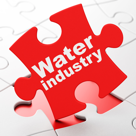 brainteaser: Industry concept: Water Industry on Red puzzle pieces background, 3d render