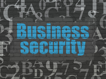hexadecimal: Safety concept: Painted blue text Business Security on Black Brick wall background with  Hexadecimal Code Stock Photo