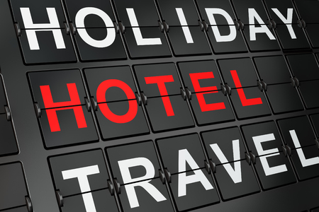 concept hotel: Tourism concept: Hotel on airport board background, 3d render Stock Photo