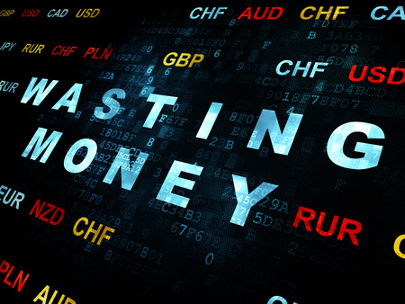 wasting: Currency concept: Pixelated blue text Wasting Money on Digital wall background with Currency Stock Photo