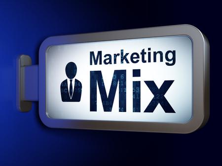 marketing mix: Marketing concept: Marketing Mix and Business Man on advertising billboard background, 3d render