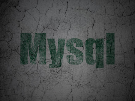 mysql: Database concept: Green MySQL on grunge textured concrete wall background