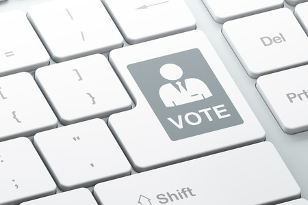 concetto di politica: pulsante con la scheda elettorale su sfondo tastiera del computer Enter, il rendering 3d