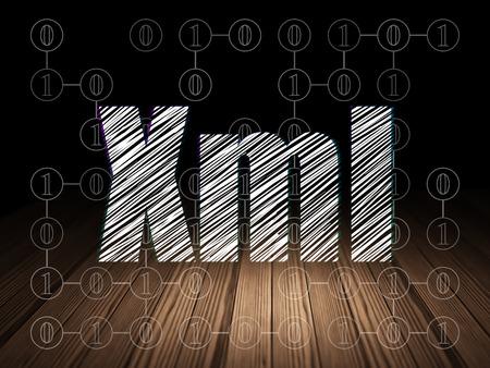 xml: Database concept: Glowing text Xml in grunge dark room with Wooden Floor, black background with Scheme Of Binary Code