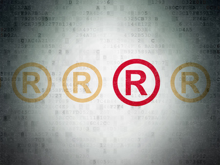 r regulation: Law concept: row of Painted yellow registered icons around red registered icon on Digital Paper background