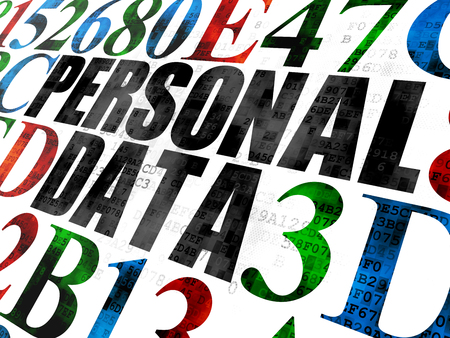 personal data: Data concept: Pixelated black text Personal Data on Digital wall background with Hexadecimal Code