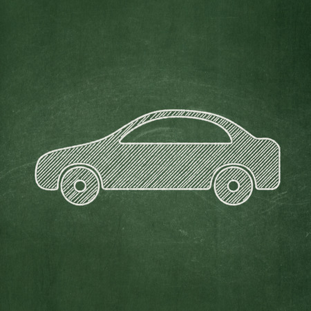 white chalk: Travel concept: Car icon on Green chalkboard background Stock Photo
