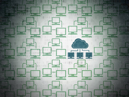 lan: Cloud computing concept: rows of Painted green lan computer network icons around blue cloud network icon on Digital Paper background Stock Photo