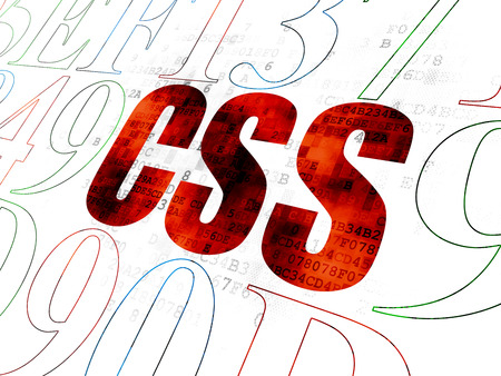 css: Software concept: Pixelated red text Css on Digital wall background with Hexadecimal Code