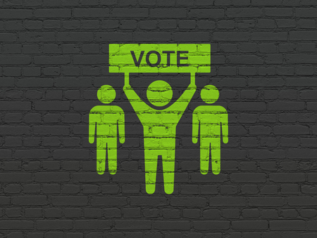 electorate: Politics concept: Painted green Election Campaign icon on Black Brick wall background Stock Photo