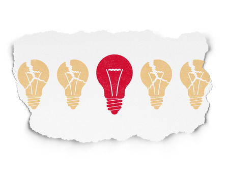 tearing down: Finance concept: row of Painted yellow light bulb icons around red light bulb icon on Torn Paper background