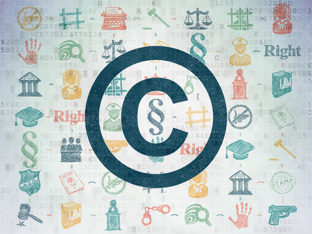 data protection act: Law concept: Painted blue Copyright icon on Digital Paper background with Scheme Of Hand Drawn Law Icons Stock Photo