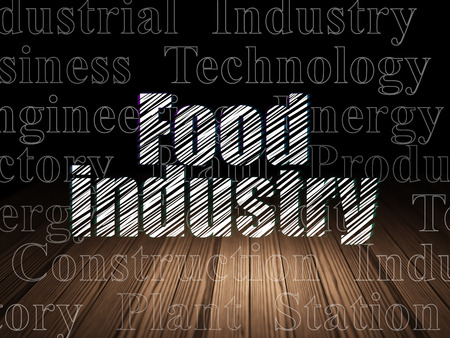 food industry: Manufacuring concept: Glowing text Food Industry in grunge dark room with Wooden Floor, black background with  Tag Cloud Stock Photo