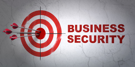 hitting a wall: Success protection concept: arrows hitting the center of target, Red Business Security on wall background