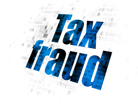 data protection act: Law concept: Pixelated blue text Tax Fraud on Digital background Stock Photo
