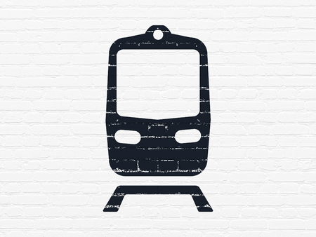 black train: Tourism concept: Painted black Train icon on White Brick wall background Stock Photo