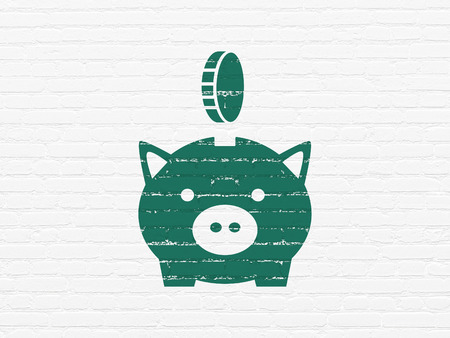 coin box: Currency concept: Painted green Money Box With Coin icon on White Brick wall background