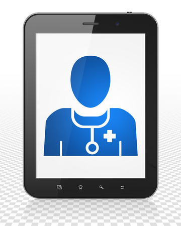 healing touch: Health concept: Tablet Pc Computer with blue Doctor icon on display Stock Photo