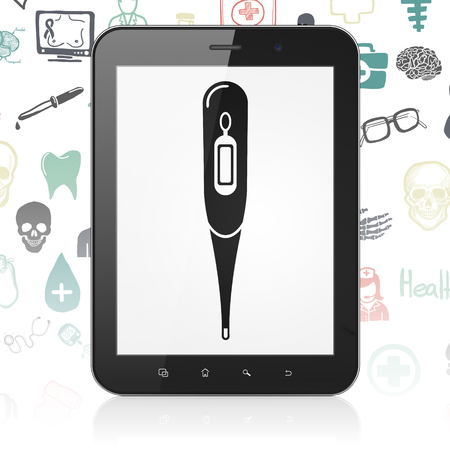 healing touch: Medicine concept: Tablet Computer with  black Thermometer icon on display,  Hand Drawn Medicine Icons background Stock Photo