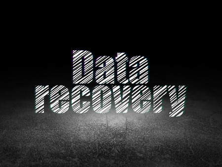 data recovery: Data concept: Glowing text Data Recovery in grunge dark room with Dirty Floor, black background Stock Photo