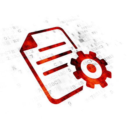 pixelated: Programming concept: Pixelated red Gear icon on Digital background Stock Photo