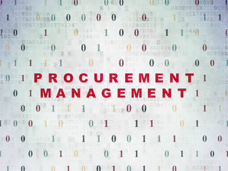 procurement: Finance concept: Painted red text Procurement Management on Digital Paper background with Binary Code