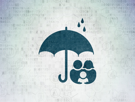 family policy: Safety concept: Painted blue Family And Umbrella icon on Digital Paper background with Scheme Of Hexadecimal Code