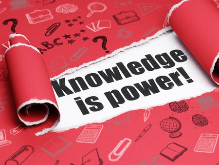 aprendizaje: Aprendizaje de conceptos: texto negro El conocimiento es poder! debajo de la pieza de papel rasgado rizado rojo con iconos de educación dibujado a mano
