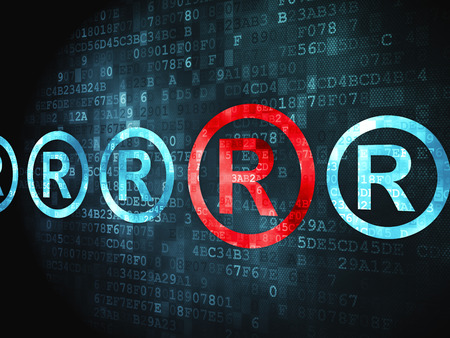 r regulation: Law concept: pixelated Registered icon on digital background