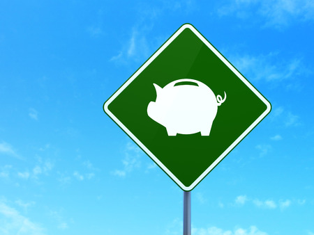 way bill: Currency concept: Money Box on green road highway sign, clear blue sky background, 3d render Stock Photo