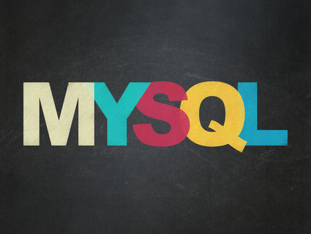 mysql: Software concept: Painted multicolor text MySQL on School Board background Stock Photo