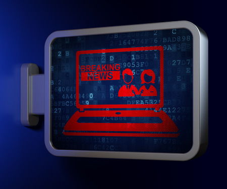 laptop outside: News concept: Breaking News On Laptop on advertising billboard background, 3d render Stock Photo